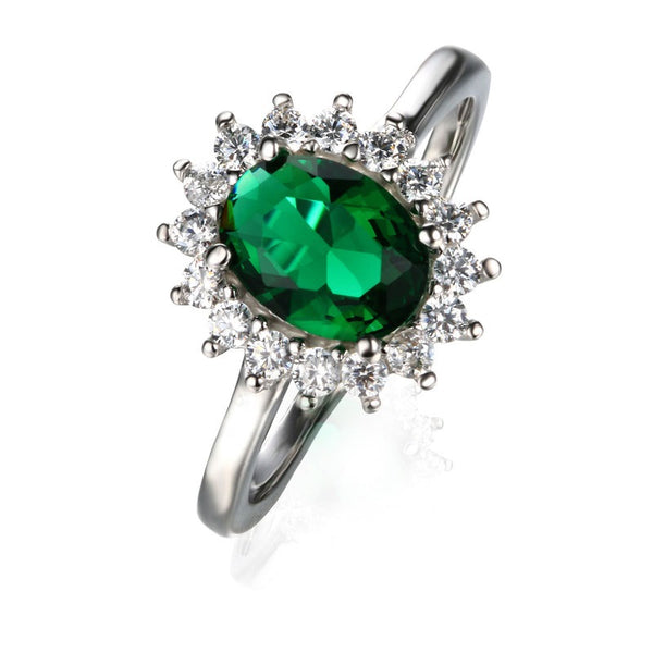 Nano Russian Emerald 925 Sterling Silver Vintage Ring