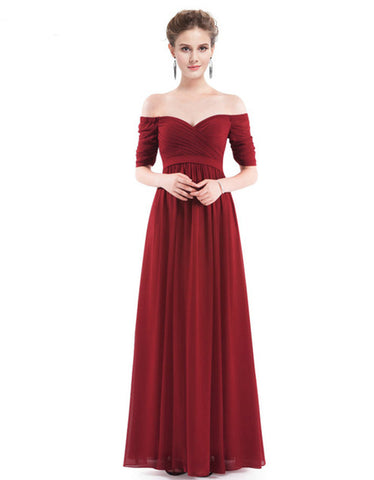 Elegant Off The Shoulder A Line Chiffon Evening Dress