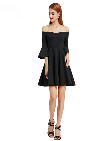 Stunning Black V-Neck Backless Flare Sleeve Cocktail