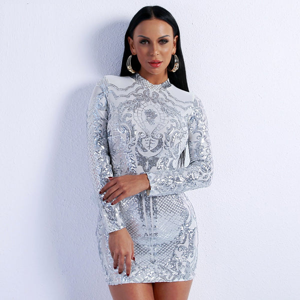 High Neck Long Sleeve Sequin Elegant Party Dress
