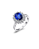 Princess Diana's 3.2ct Created Blue Sapphire Engagement 925 Sterling Silver Ring