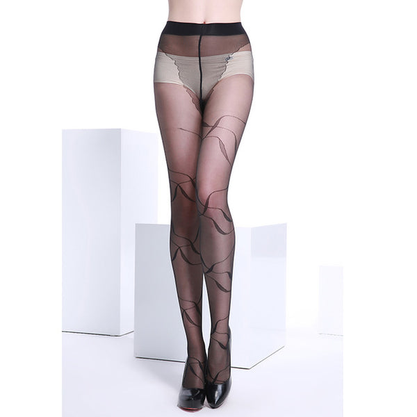 Ultra Sheer Summer Black Fashional and Sexy Woman Pattern Jacquard Core-spun Silk Pantyhose