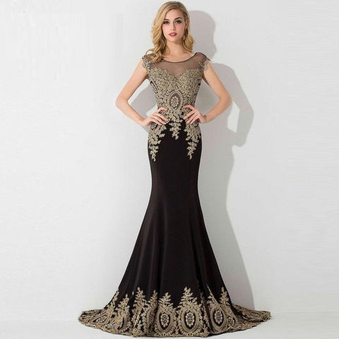 Sheer Lace Mermaid Long Prom Dress