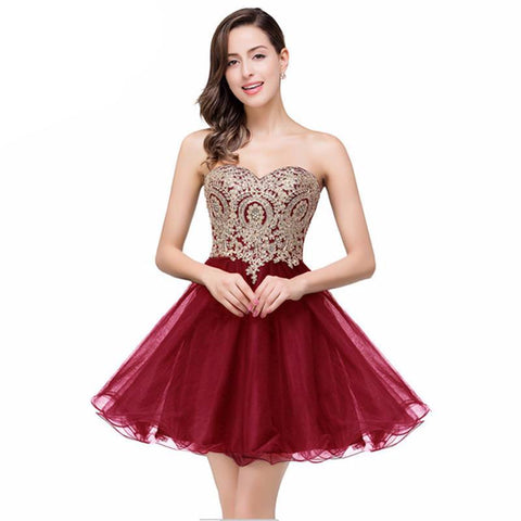 Backless Burgundy Lace Short Prom Dress