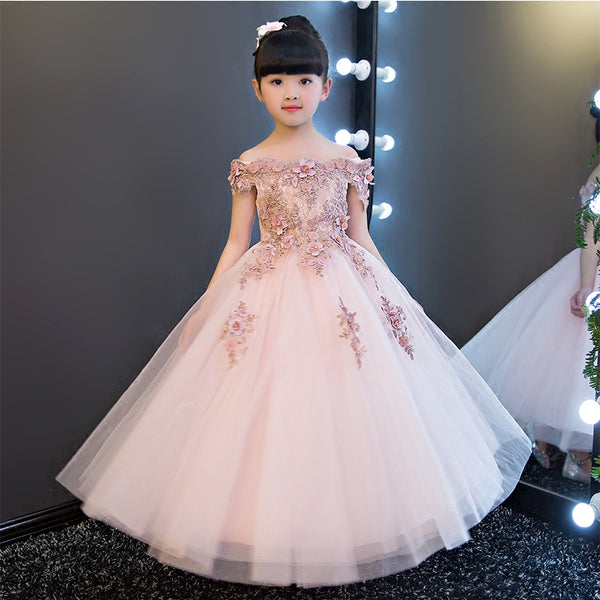 Girls Shoulderless Wedding Dress Bead Appliques Party Tulle Princess Birthday Dress