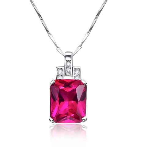 Created Rose Red Ruby Square Pendant 925 Sterling Silver
