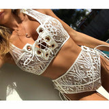 Stunning White Lace High Waist Swimsuit Bikini Set