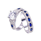 1 Pair Blue Sapphire Couple Wedding Ring