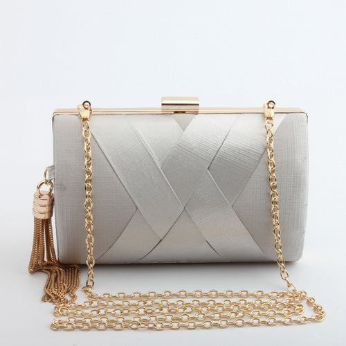 Metal Tassel Lady Clutch Bag With Chain Shoulder