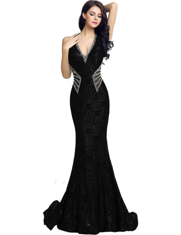 Gorgeous V Neck Long Mermaid Formal Evening Dress