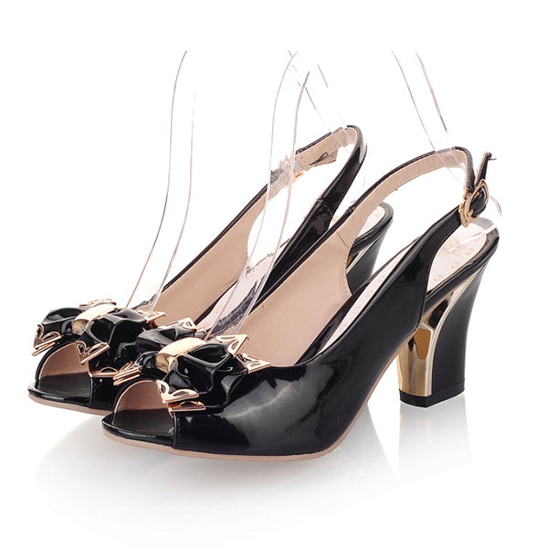 Thick High Heel Patent leather Open Toe Peep Toes Shoes