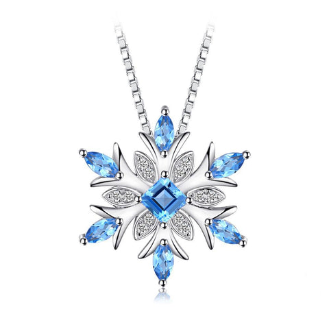 Snowflake Genuine Swis Blue Topaz Solid 925 Sterling Silver Pendant Necklace