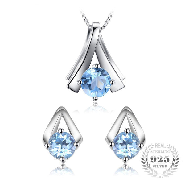 2.2ct Genuine Sky Blue Topaz Pendant Necklace Stud Earrings Jewelry Sets 925 Sterling Silver