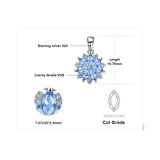 Flower 1.2ct Created Light Blue Spinel Pendant 925 Sterling Silver
