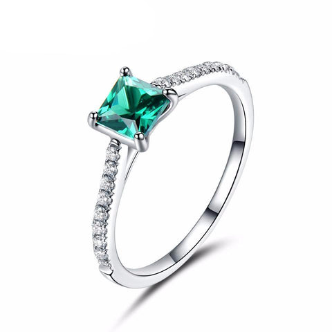 Green Nano Emerald Ring Genuine Solid 925 Sterling Silver