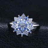 Flower 1.2ct Created Light Blue Spinel Statement Ring 925 Sterling Silver Fine Jewelry