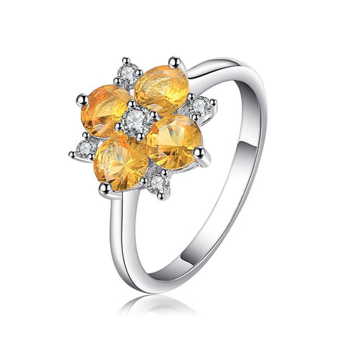2ct Orange Created Sapphire Flower Ring