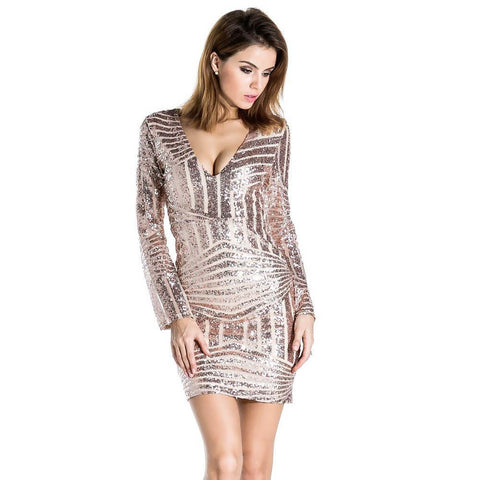 Sexy Long Sleeve V-neck Sequins Dress
