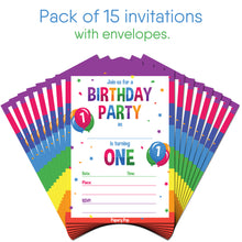 1 Year Old Birthday Party Invitations with Envelopes (15 Count) - Kids Birthday Invitations for Boys or Girls - Rainbow