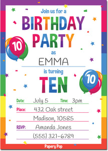 10 Year Old Birthday Party Invitations with Envelopes (15 Count) - Kids Birthday Invitations for Boys or Girls - Rainbow
