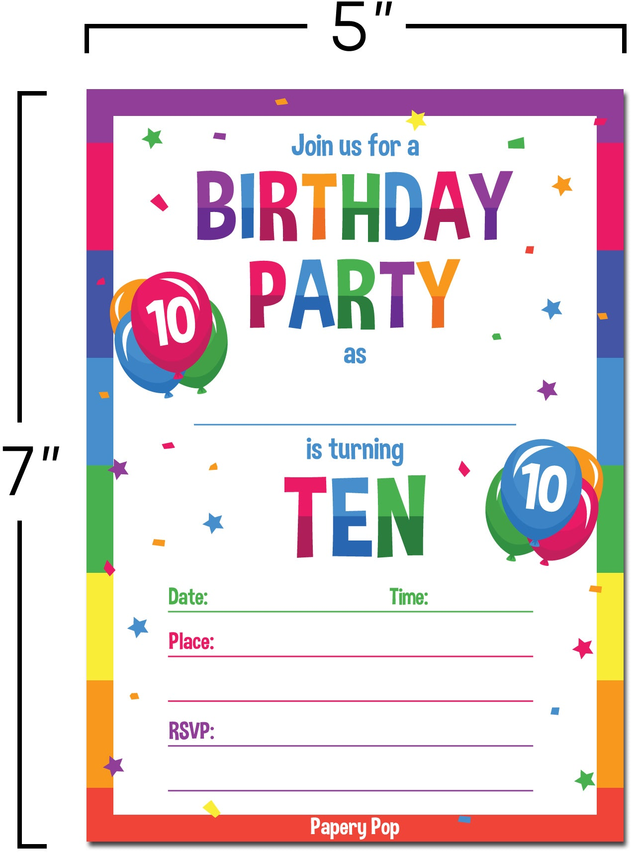 10 Year Old Birthday Party Invitations With Envelopes 15 Count