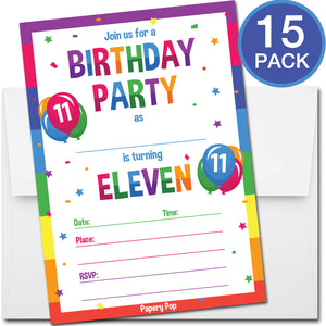 11 Year Old Birthday Party Invitations with Envelopes (15 Count) - Kids Birthday Invitations for Boys or Girls - Rainbow