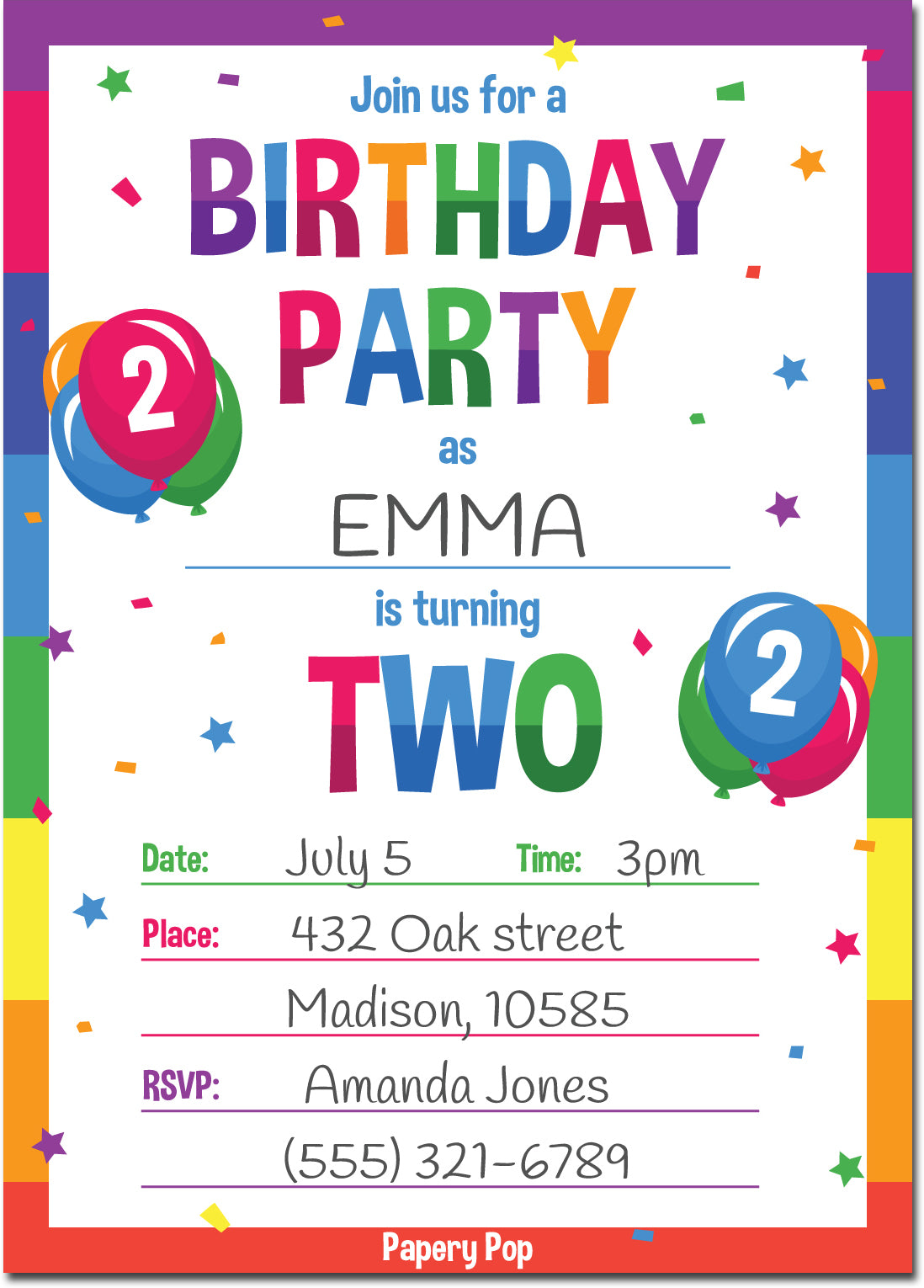 2 Year Old Birthday Party Invitations with Envelopes (15 Count ...