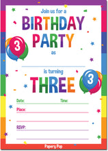 3 Year Old Birthday Party Invitations with Envelopes (15 Count) - Kids Birthday Invitations for Boys or Girls - Rainbow