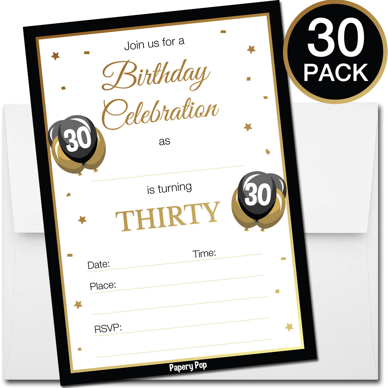 30 Year Old Birthday Invitations with Envelopes (30 Count) – Papery Pop