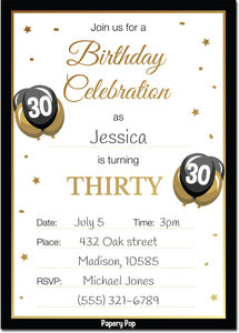 30 Year Old Birthday Invitations with Envelopes (30 Count)