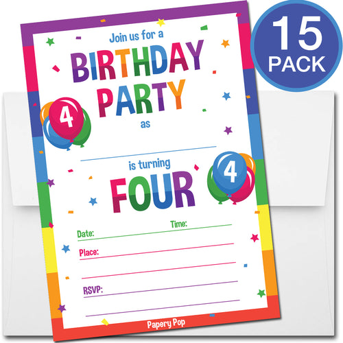 4 Year Old Birthday Party Invitations with Envelopes (15 Count) - Kids Birthday Invitations for Boys or Girls - Rainbow