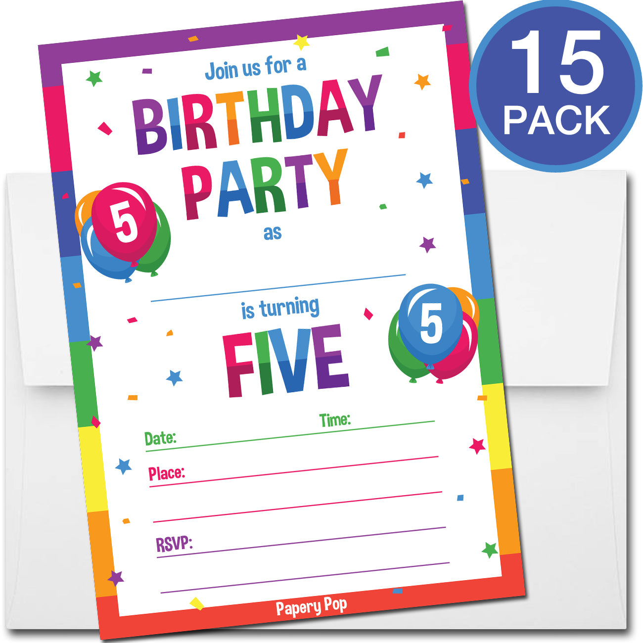 5 Year Old Birthday Party Invitations With Envelopes 15 Count