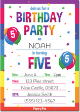 5 Year Old Birthday Party Invitations with Envelopes (15 Count) - Kids Birthday Invitations for Boys or Girls - Rainbow