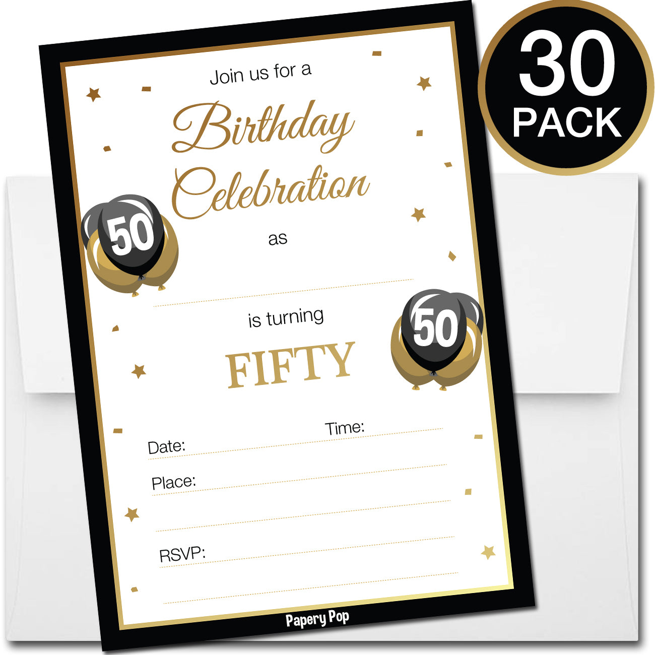 50 Year Old Birthday Invitations with Envelopes (30 Count) – Papery Pop