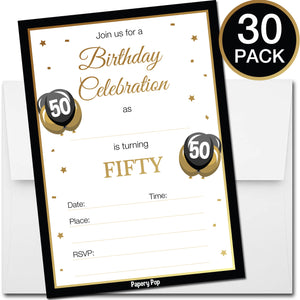 50 Year Old Birthday Invitations With Envelopes 30 Count