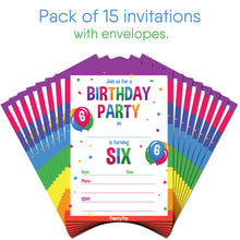 6 Year Old Birthday Party Invitations With Envelopes 15 Count