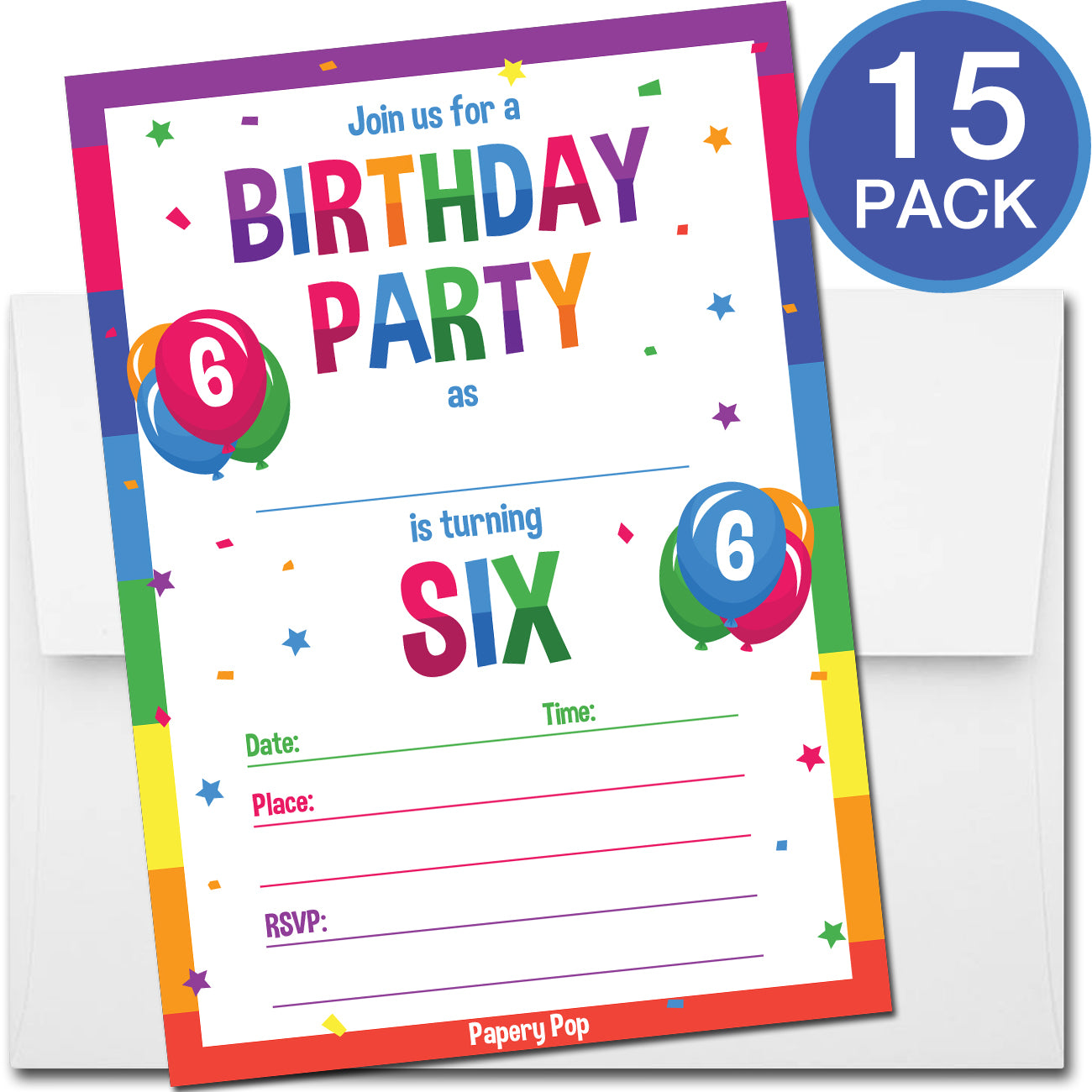 6 Year Old Birthday Party Invitations with Envelopes (15 Count ...