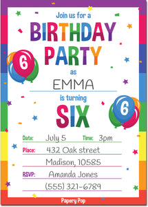 6 Year Old Birthday Party Invitations with Envelopes (15 Count) - Kids Birthday Invitations for Boys or Girls - Rainbow