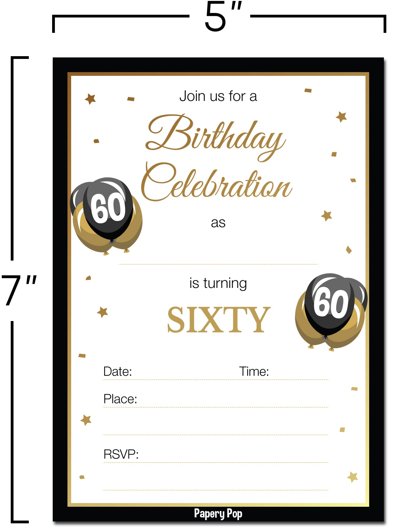 60 Year Old Birthday Invitations with Envelopes (30 Count) – Papery Pop