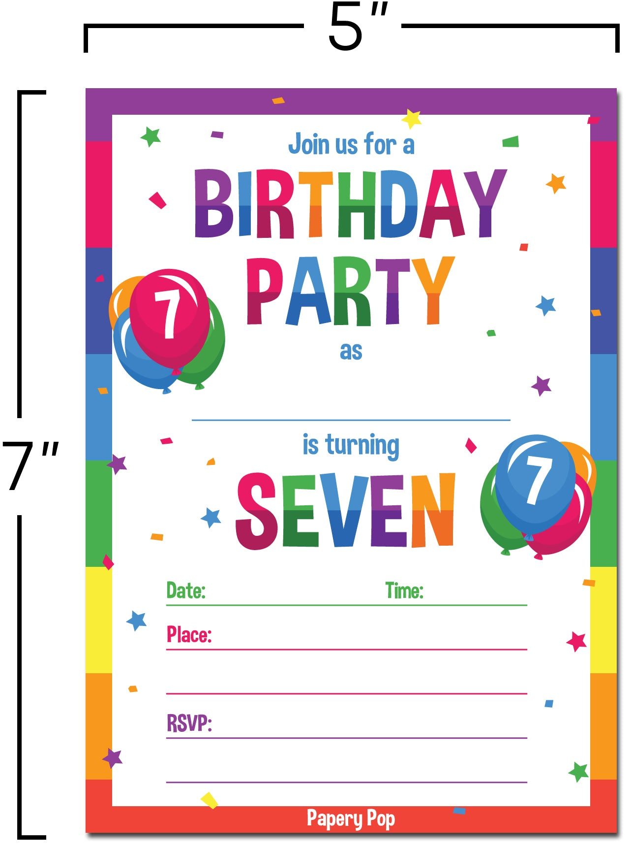 7 year old birthday party invitations with envelopes 15 count