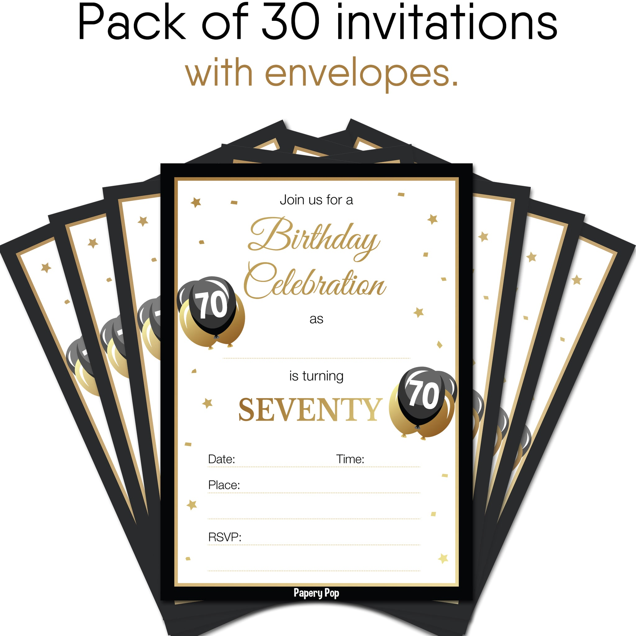 70 Year Old Birthday Invitations With Envelopes 30 Count