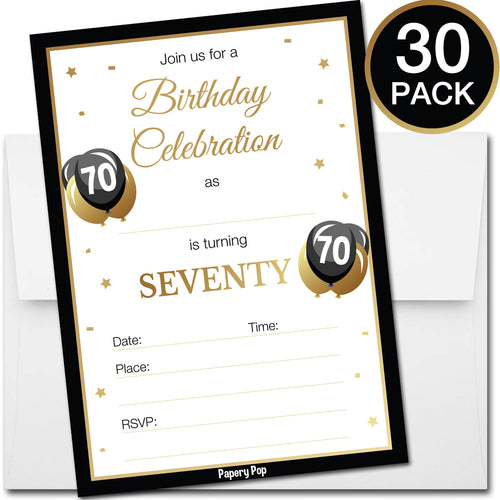 70 Year Old Birthday Invitations with Envelopes (30 Count)