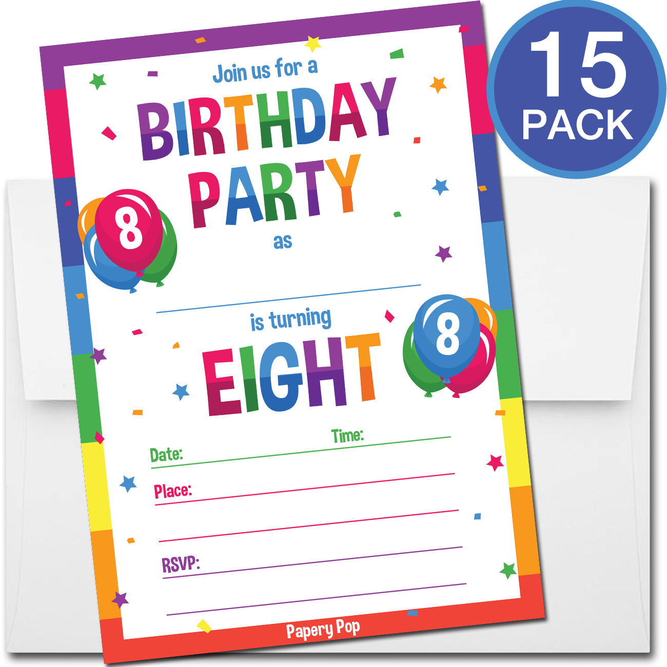 8 Year Old Birthday Party Invitations with Envelopes (15 Count ...