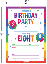 8 Year Old Birthday Party Invitations with Envelopes (15 Count) - Kids Birthday Invitations for Boys or Girls - Rainbow