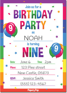 9 Year Old Birthday Party Invitations with Envelopes (15 Count) - Kids Birthday Invitations for Boys or Girls - Rainbow