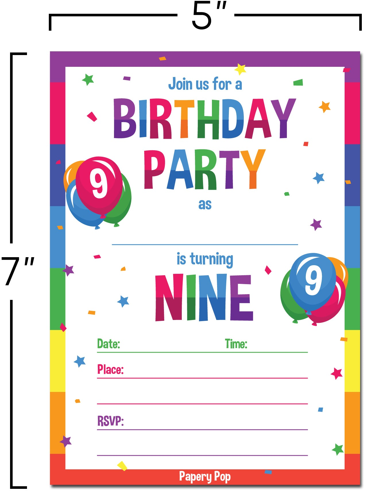 9 Year Old Birthday Party Invitations With Envelopes 15 Count
