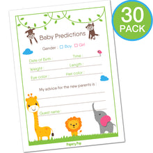 30 Baby Shower Prediction and Advice Cards, Boy or Girl - Safari Jungle Zoo Animals