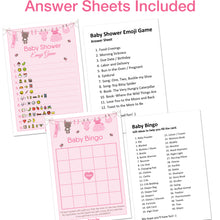 Baby Shower Games for Girls - Set of 5 Activities - (250 Cards Total, 50 Per Game) - Baby Shower Supplies