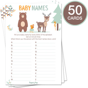 Baby Shower Games for Boys or Girls - Set of 5 Activities - (250 Cards Total, 50 Per Game) - Baby Shower Supplies - Woodland Animals