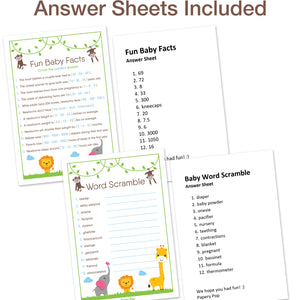 Baby Shower Games for Boys or Girls - Set of 5 Activities - (50 Cards Each, 250 Total) - Baby Shower Supplies - Safari Jungle Zoo Animals